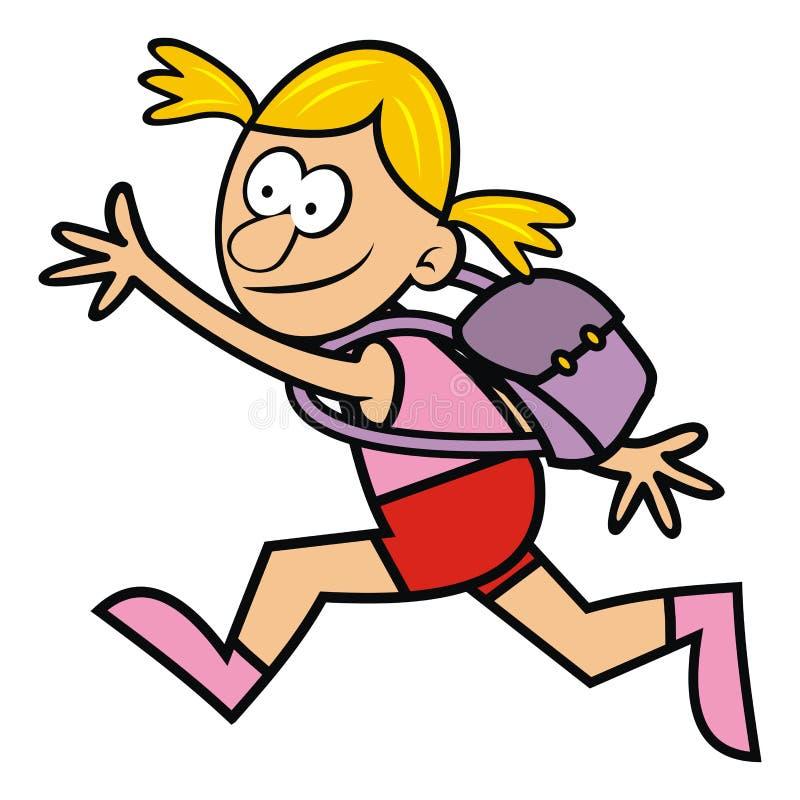 有书包的连续女孩,导航滑稽的例证 向量例证