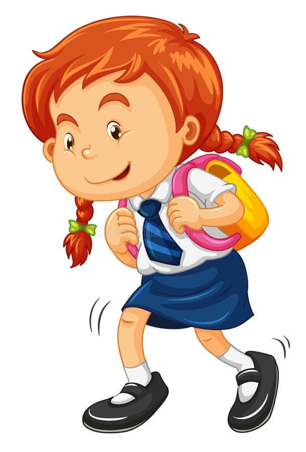 有书包走的女孩 向量例证
