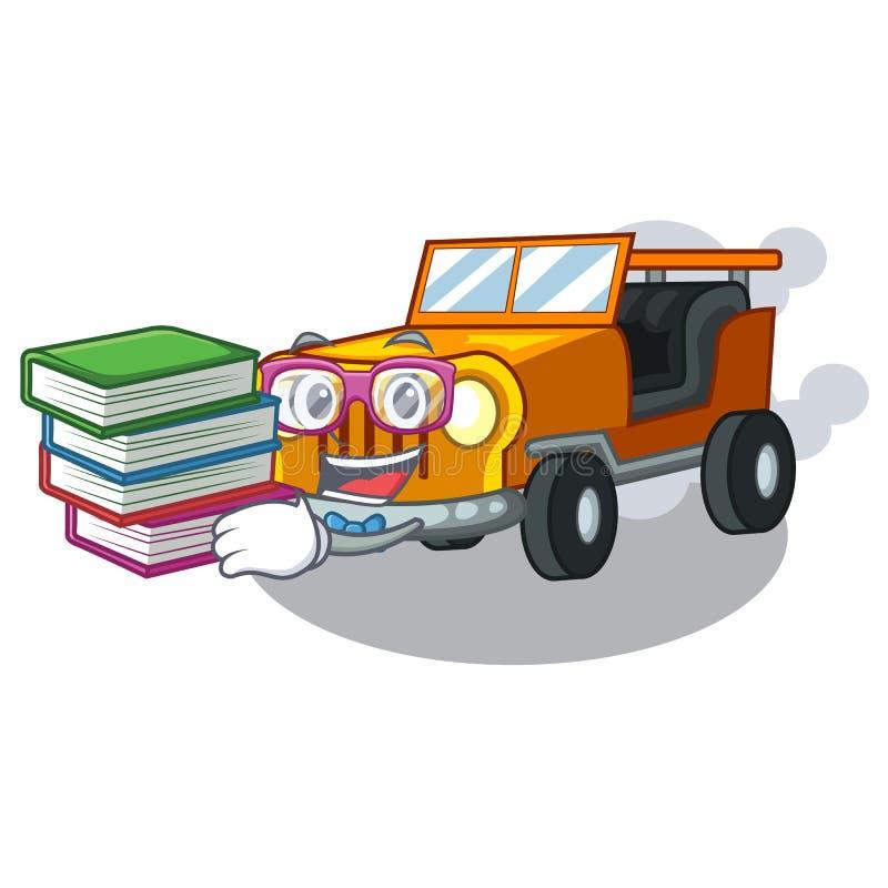 有书吉普动画片汽车的学生在前面赦免 库存例证