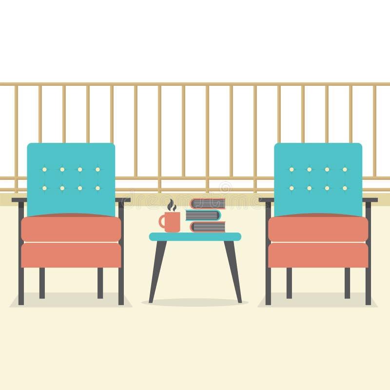 有书和咖啡的沙发在阳台 库存例证