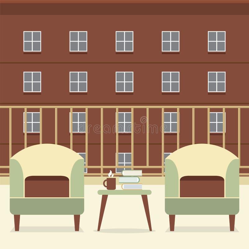 有书和咖啡的沙发在阳台 向量例证