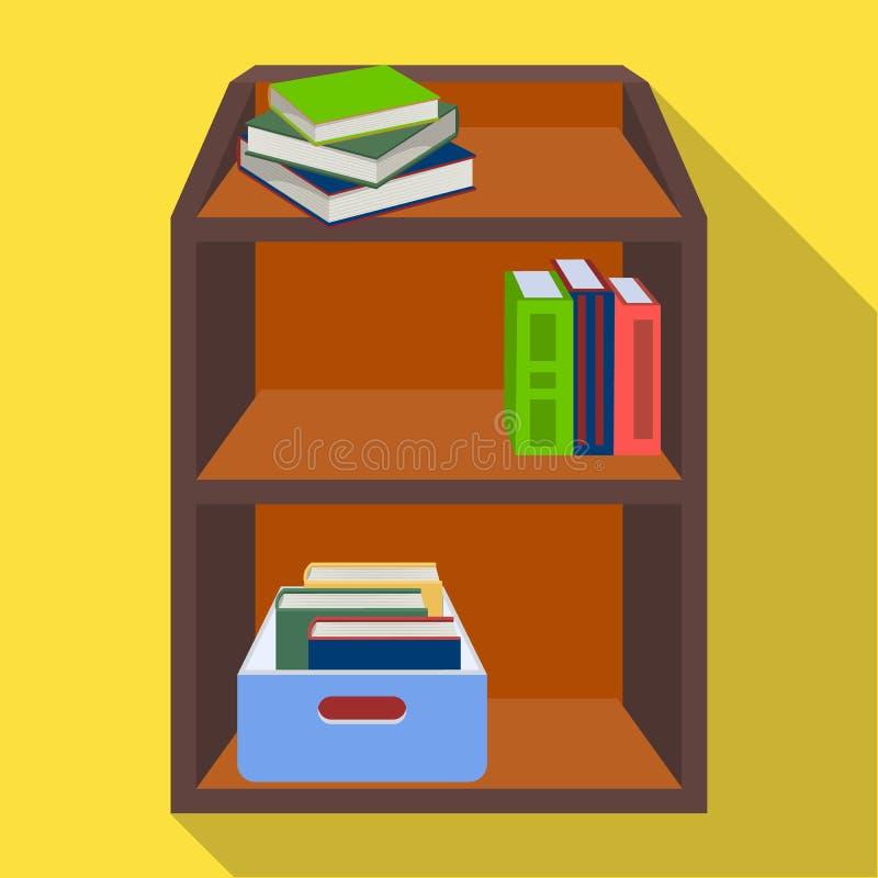 有书和文件的一个机架 在平的样式等量传染媒介标志股票例证的办公家具唯一象 库存例证