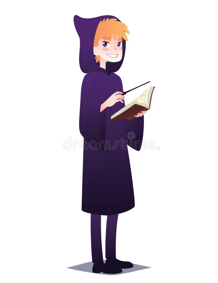 有书和魔术棍子的巫术师男孩 魔术师样式的逗人喜爱的年轻人长袍的有去为万圣夜党的敞篷的 皇族释放例证