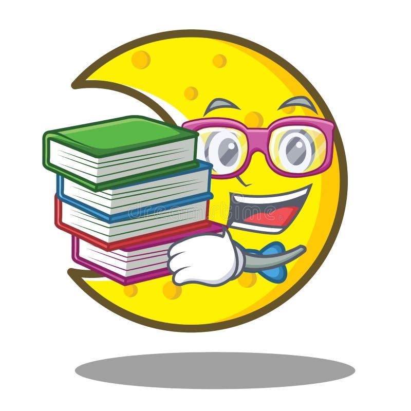 有书新月形月亮字符动画片的学生 库存例证