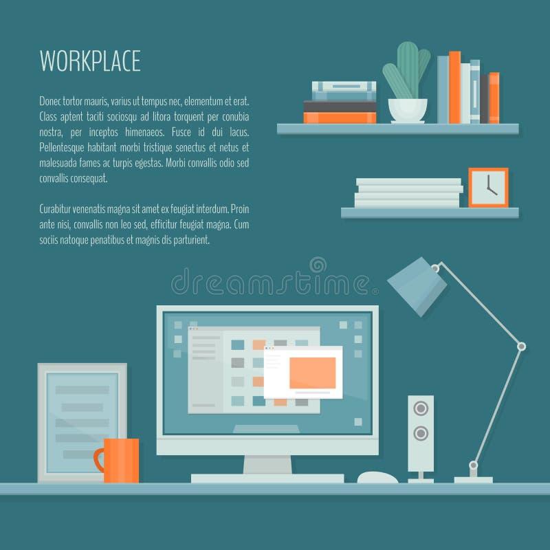 有书桌、计算机、架子和设备的工作场所 工作区 皇族释放例证