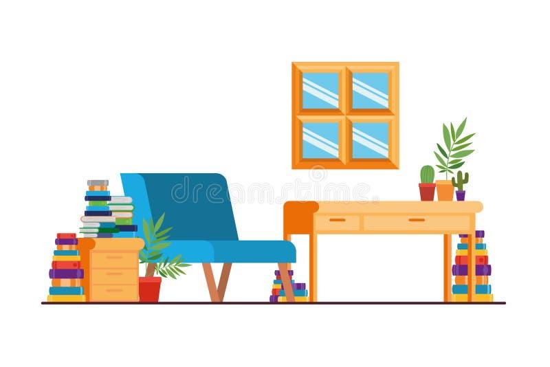 有书桌和书的客厅 皇族释放例证