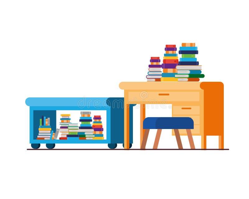 有书桌和书的客厅 向量例证