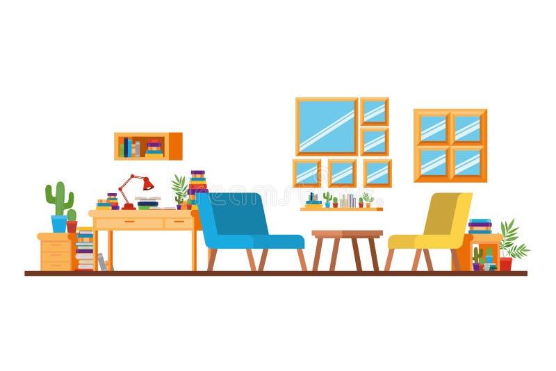 有书桌和书的客厅 库存例证