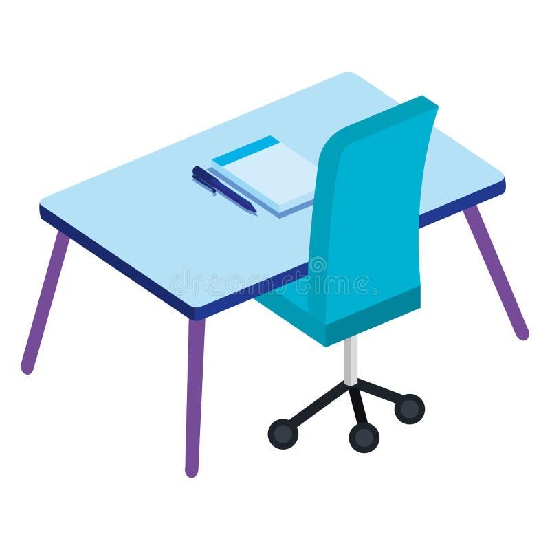 有书桌和笔记本的办公室 向量例证