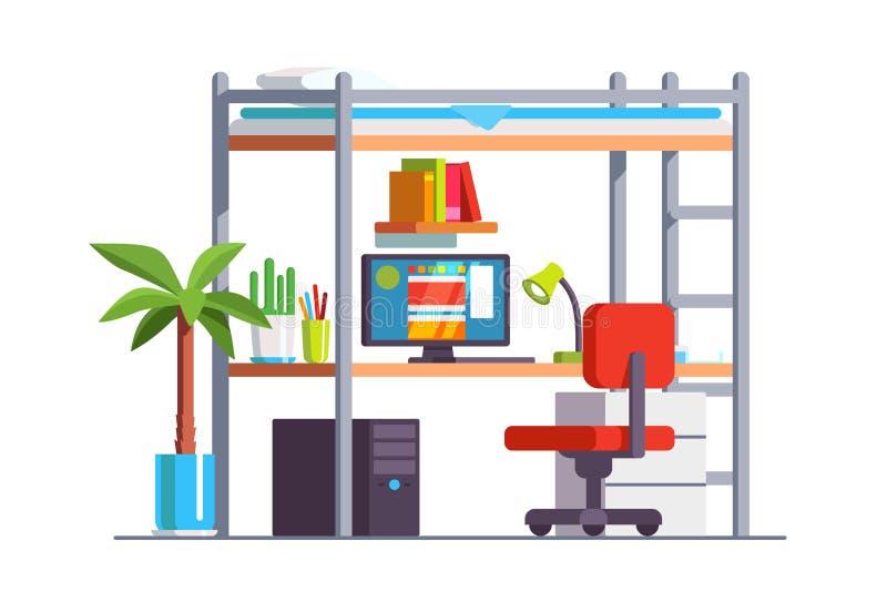 有书桌的,计算机,床宿舍卧室 库存例证
