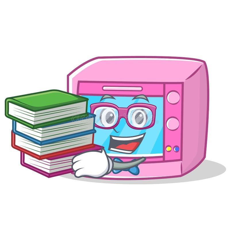 有书烤箱微波字符动画片的学生 库存例证