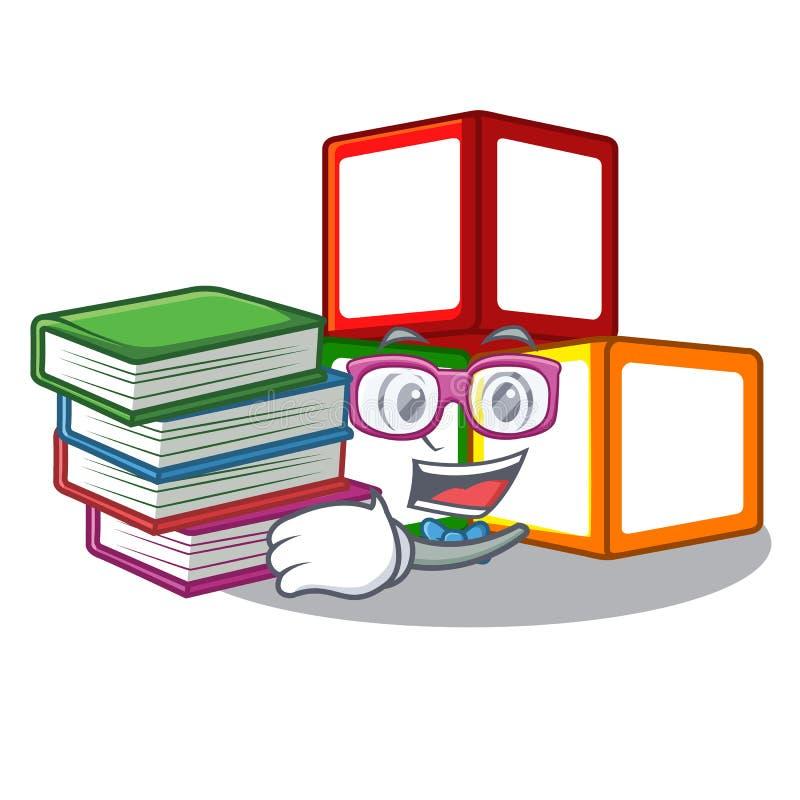 有书玩具块的学生在立方体箱子吉祥人 皇族释放例证