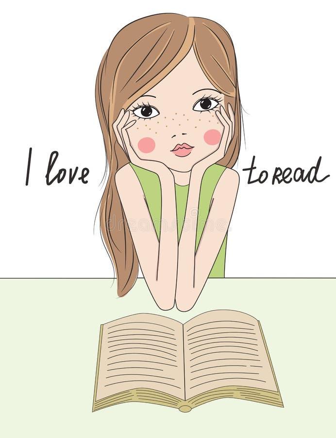 有书的动画片女孩 库存例证