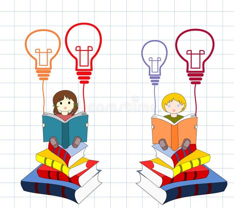 有书的孩子坐堆书有想法 库存例证