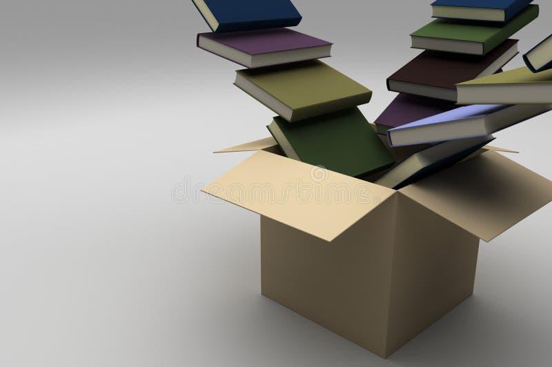 有书的开放箱子流动入它 皇族释放例证