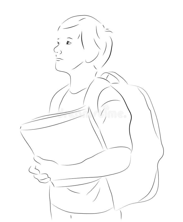 有书的概略男孩 库存例证
