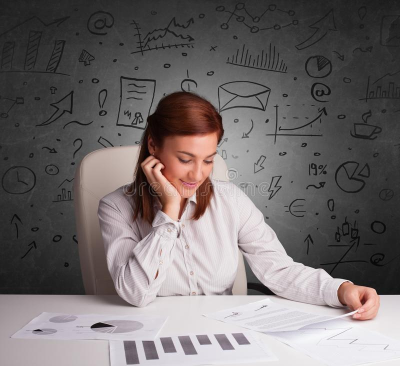有乱画multitask概念的秘书 免版税库存图片