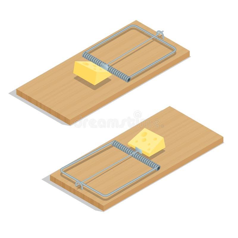 有乳酪平的3d传染媒介等量例证的捕鼠器 在白色背景隔绝的现实捕鼠器特写镜头 向量例证