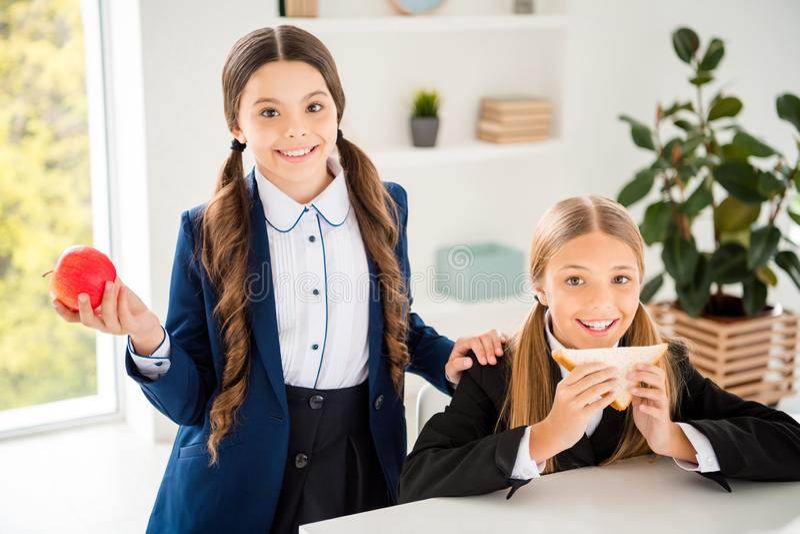 有二人好可爱的迷人的迷人的逗人喜爱的可爱的快乐的友好的女孩画象午餐停留断裂  库存照片