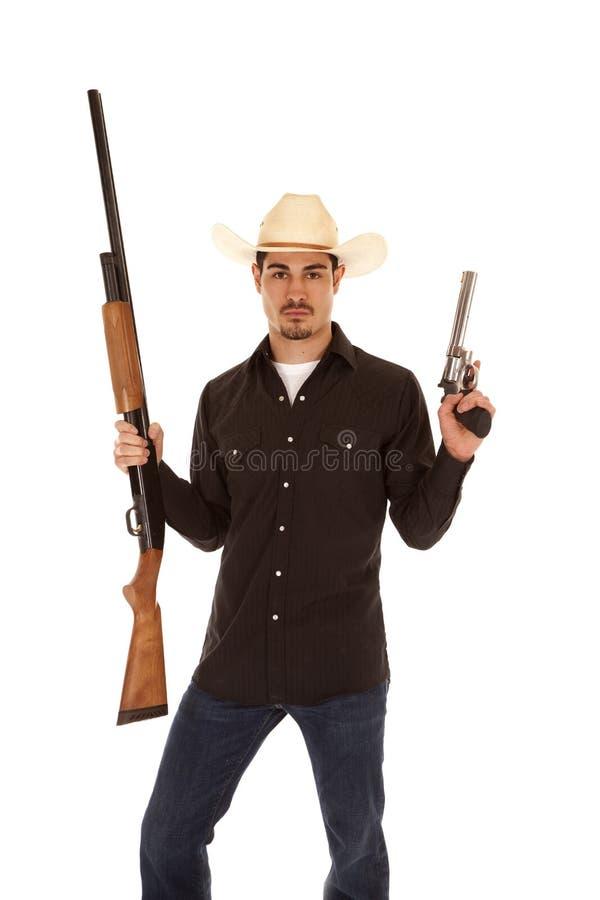 有二杆枪的牛仔 库存图片