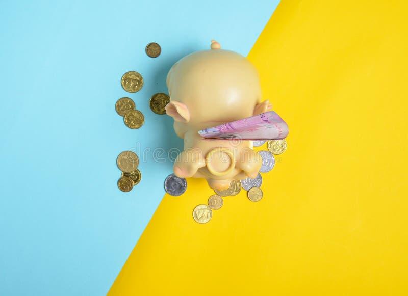 有二百hryvna票据和硬币的存钱罐在黄色蓝色背景 乌克兰经济,乌克兰旗子 免版税图库摄影