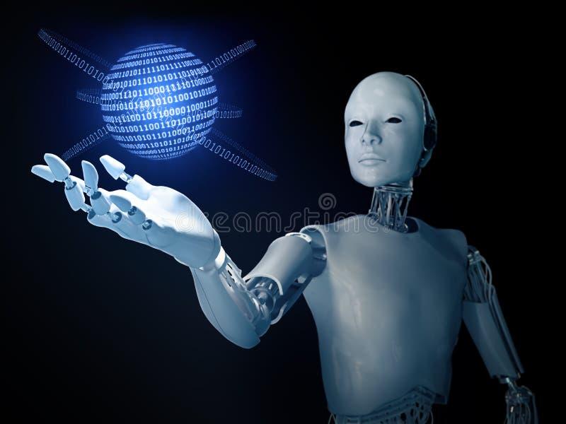有二进制编码地球的机器人 向量例证