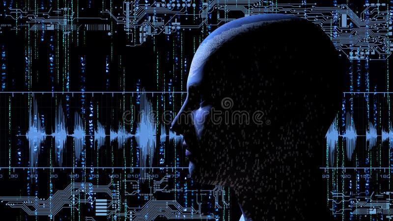 有二进制编码的人头在与电子线路的矩阵背景 库存例证