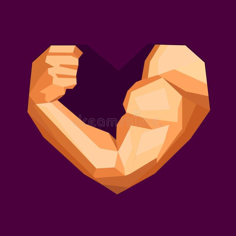 有二头肌的多角形爱好健美者手在心脏 库存例证