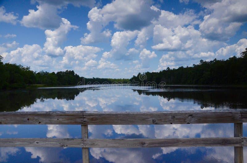有云彩的反射的湖 库存图片