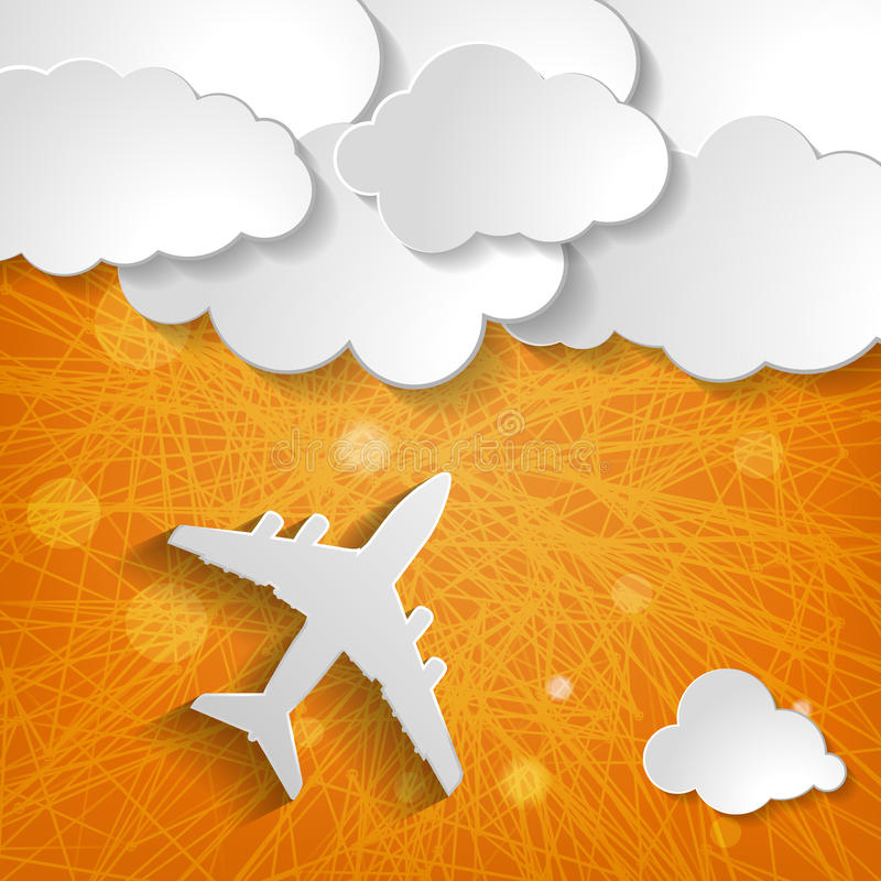 有云彩的纸飞机在橙色镶边背景 向量例证