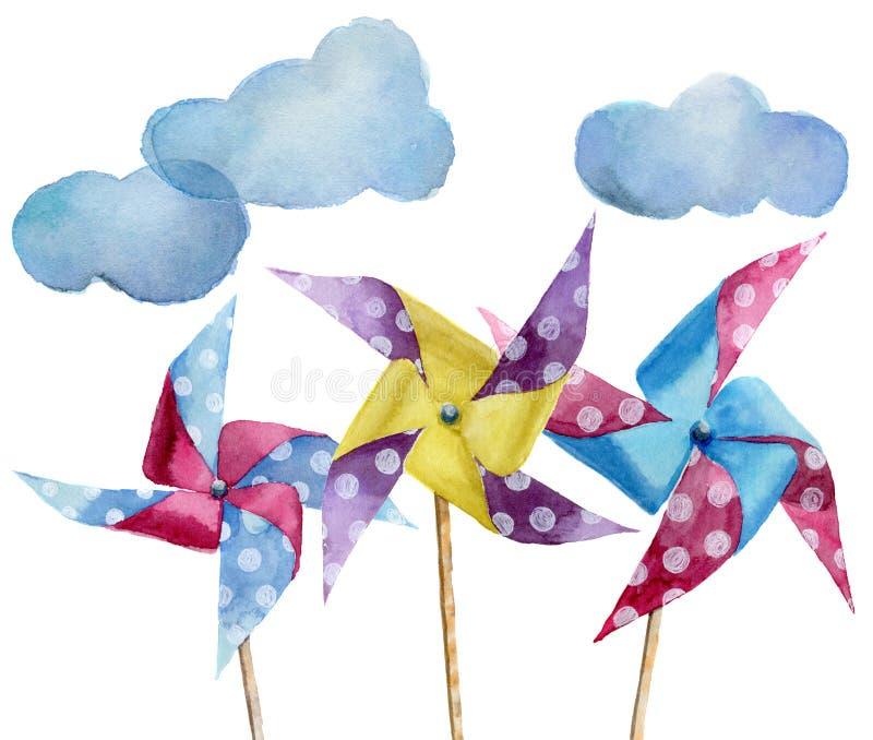 有云彩的水彩纸圆点风车 有减速火箭的设计的手拉的葡萄酒风车 在白色b隔绝的例证 皇族释放例证
