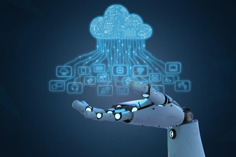 有云彩计算机的机器人 向量例证