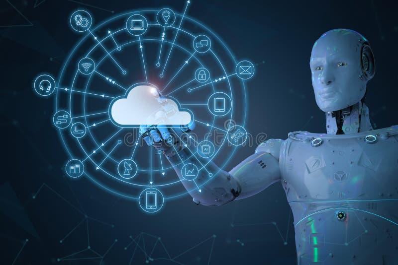 有云彩计算机的机器人 库存例证
