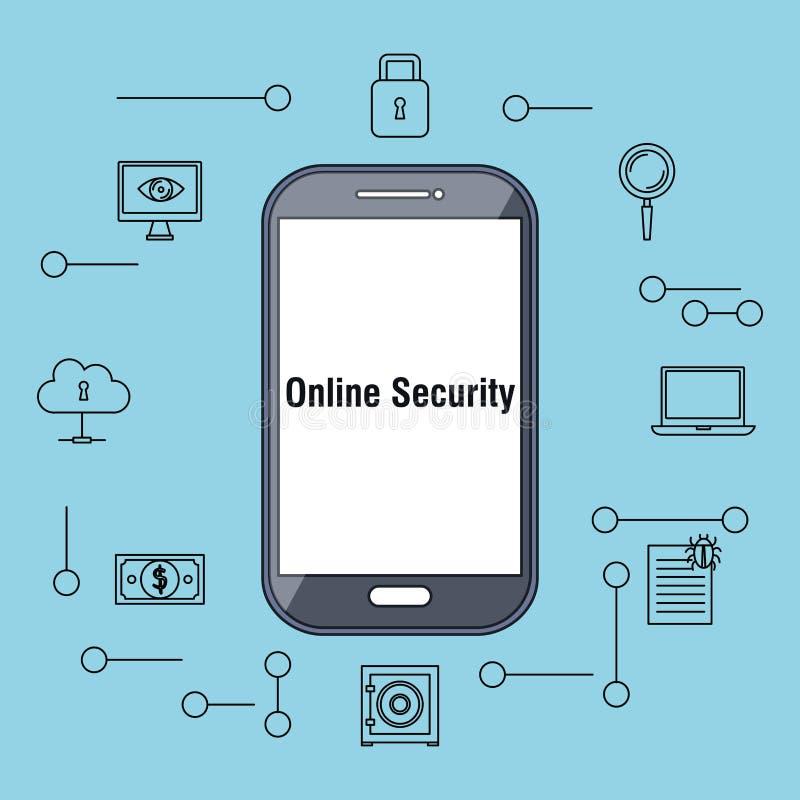 有互联网安全象的智能手机 向量例证