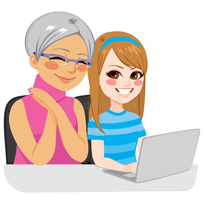 有互联网的孙女帮助的祖母 库存例证