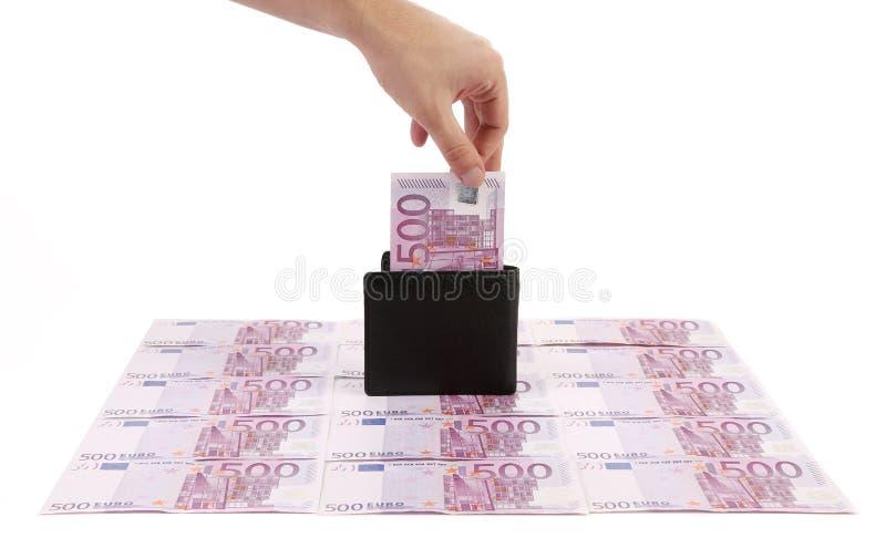 有五张数百欧元钞票的钱包 免版税库存照片