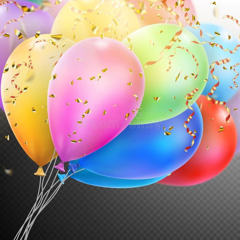 有五彩纸屑的五颜六色的气球 10 eps 皇族释放例证