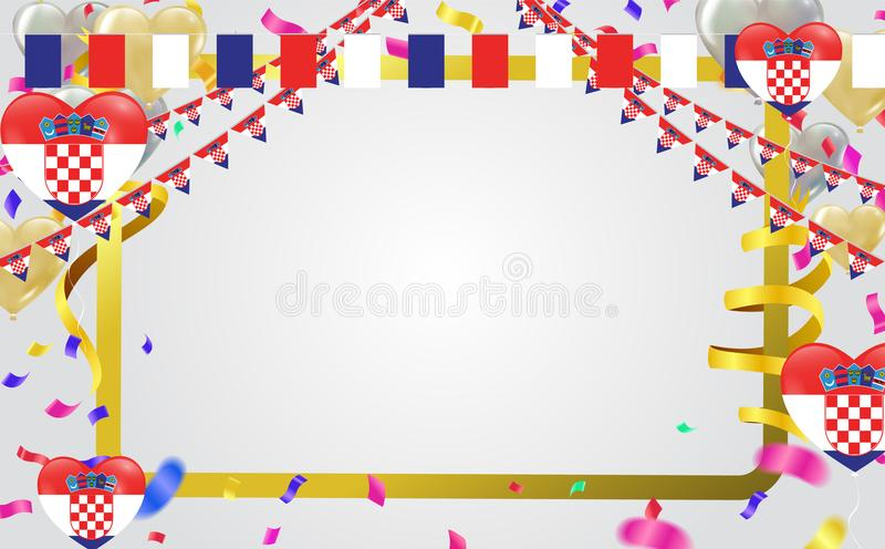 有五彩纸屑的克罗地亚旗子和克罗地亚人气球诗歌选在wh 向量例证