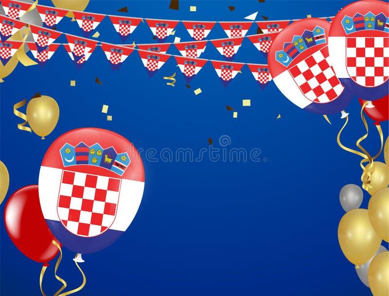 有五彩纸屑的克罗地亚旗子和克罗地亚人气球诗歌选在wh 库存例证