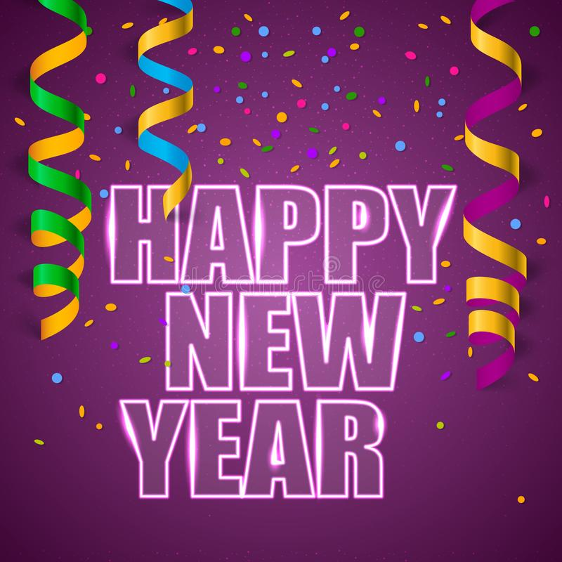 有五彩纸屑的新年快乐 库存例证