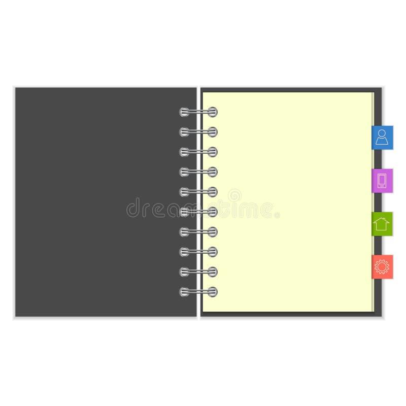 有五颜六色的信息书签的空白的笔记本 库存例证