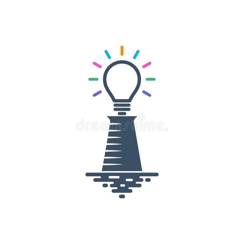 有五颜六色的光束的电灯泡形状的灯塔 库存例证