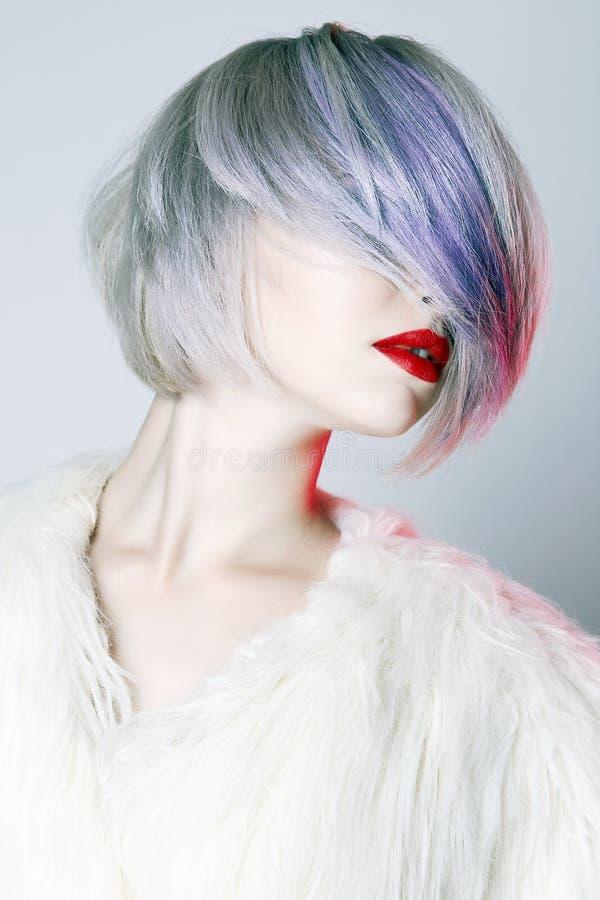 有五颜六色的发型的美丽的女孩 库存图片