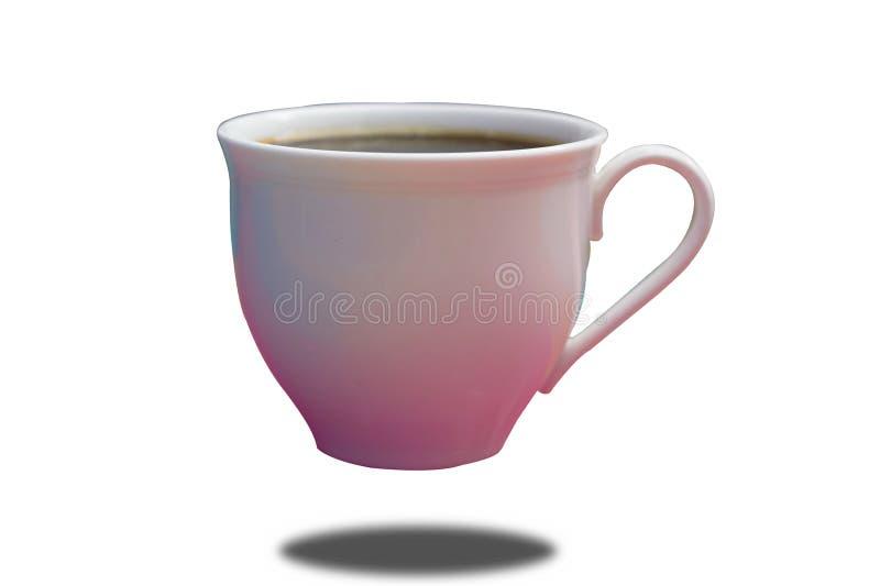 有五颜六色的咖啡杯在被隔绝的白色背景反射 免版税库存图片