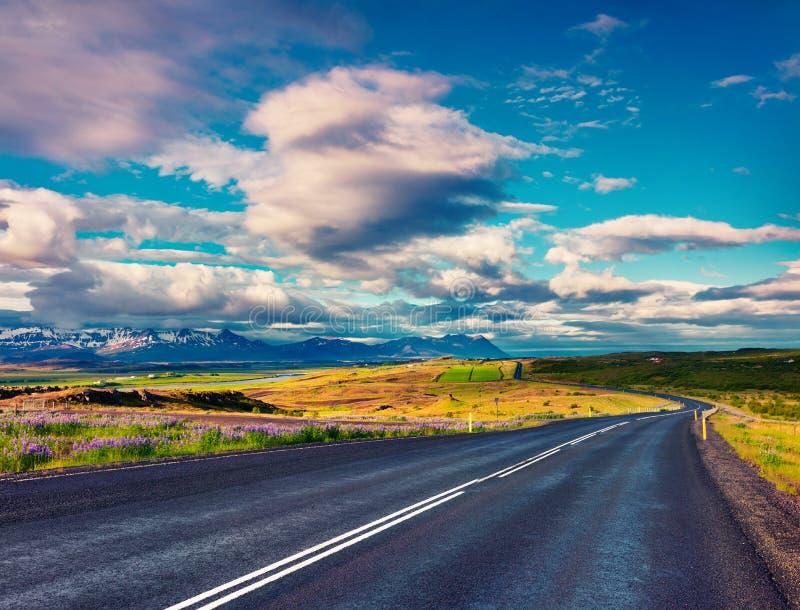 有五颜六色的多云天空的空的柏油路 免版税图库摄影