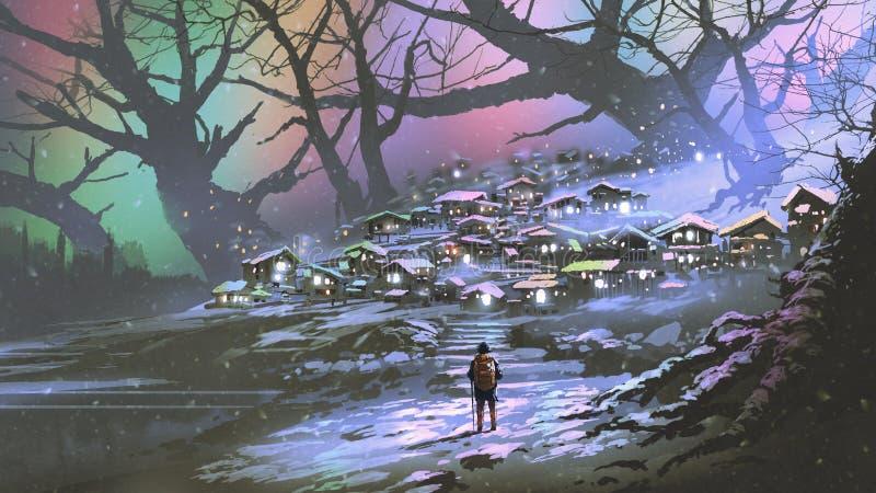 有五颜六色的大气的雪村庄 库存照片