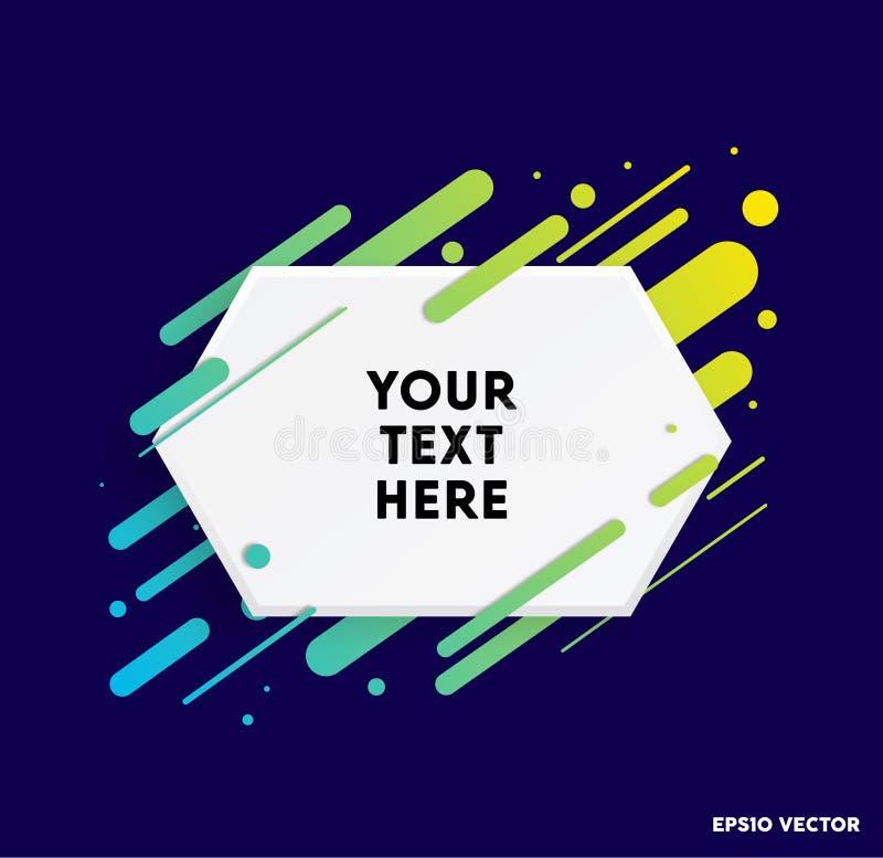 有五颜六色的条纹和深蓝背景的现代正文框 诱导引文的理想 也corel凹道例证向量 皇族释放例证