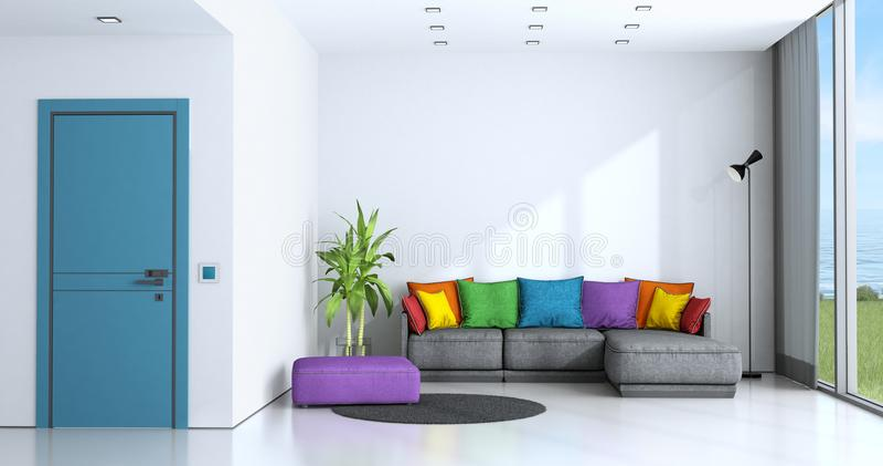 有五颜六色的沙发的明亮的客厅 向量例证