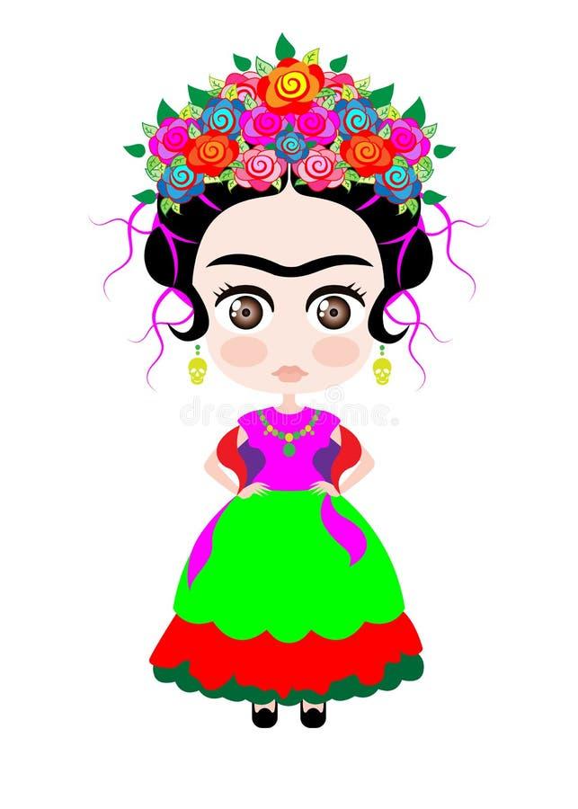 有五颜六色的花冠的,Kokeshi玩偶样式,在典型的种族墨西哥衣裳的动画片玩偶小芙烈达・卡萝孩子的, 向量例证