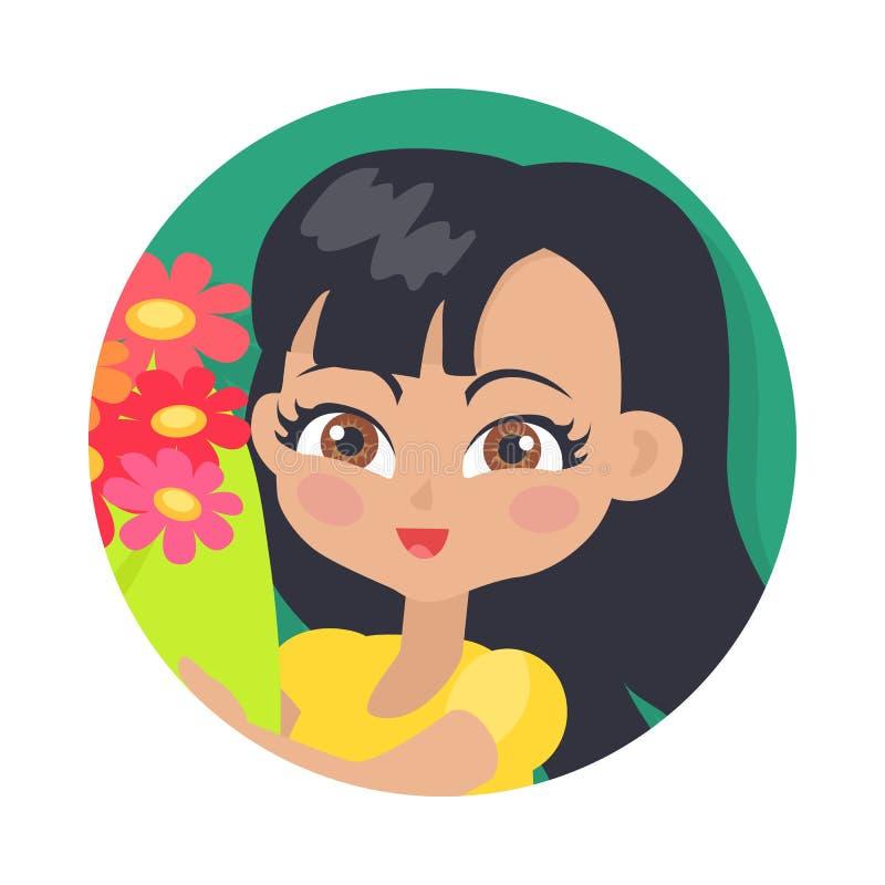 有五颜六色的花的微笑的女孩 黑发 皇族释放例证